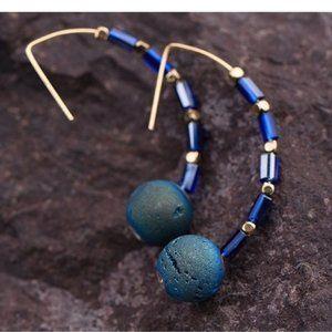 Druzy Threader Earrings Threaders Hematite